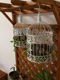 Wholesale 4 Sizes Available Bird Cage Decorations European Style Iron Art Birdcage Vintage Wedding Decorations Supplies Lovely White Painted Bird Cage