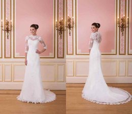 Wholesale 2016 Sexy Long Sleeve Sheer Wedding Dresses Lace Sheath Strapless Applique Sweep Train Bridal Gowns Custom Made High Quality Wedding Dre
