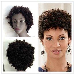 Descuento cortes de pelo rizado corto para las mujeres Al por mayor-Nueva Moda Cabelo Las pelucas de pelo 100% Remy no procesados Humano súper corto pelucas rizadas para Mujeres afroamericanas Peinado torcedura WVG