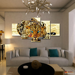Wholesale 5 Piece Abstract Leopards Modern Home Wall Decor Wall Picture For Living Room Canvas Picture Art HD Print Painting Set of Each Canvas Art