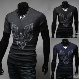 New Promotion!hot Men clothes t shirt high-elastic men's short sleeve v neck tight shirt male Print Phenix T-shirt