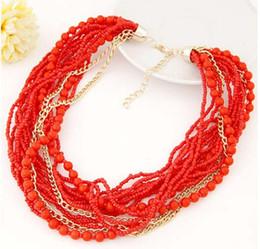 2017 colliers de perles Nouvelle chaîne Designer classique Bohemia Bead Vintage Collar Statement Bib Collier bijoux à la mode pour les femmes # 71406 bon marché colliers de perles