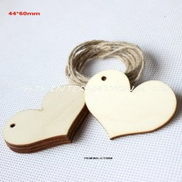 Wholesale-(80pcs lot) Unfinished cutouts rustic wooden crafts wedding tags supplies wood love heart tags string hanging-CT1058