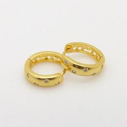 amazing women's earrings 24k yellow gold filled smooth 5 dot mounting Austrian crystal hoop earrings new