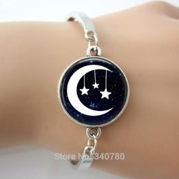 Wholesale Moon and stars bangle moon stars space jewelry moon pendant moon jewelry friend gift family gift idea bracelets bangles hots