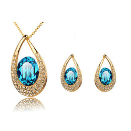 Austrian Crystal Necklace Earrings Set Necklaces and Earring Set for Wedding Vintage Womens Rhinestone Jewelry 1319