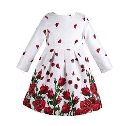 Wholesale Baby Girl Dress Long Sleeve Rose Petals Flower Gilrs Clothes Kids Dresses Winter Designer Princess Dress Christmas Children Clothing Y
