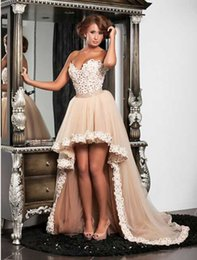 2015 Lace High Low A Line Prom Dresses Sweetheart Zipper Back Appliques Short Hi-Lo Party Evening Gowns