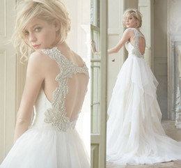 2015 Open Back Bohemian Wedding Dress Chiffon Dress Sleeveless High Quality Train Vintage Wedding Dress Open Back Ivory or White
