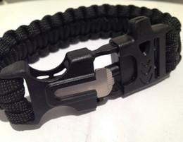 Wholesale 10 Lifesaving whistle Bracelet cord Survival parachute rope Steel flint