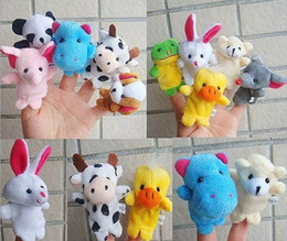 Wholesale DHL Finger Puppets Animal Plush Toys Baby Learn Animal Story Toys Cartoon Finger Dolls Kids Toys