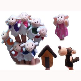 Wholesale World Fairy Tale quot The Wolf and The Seven Little Goats quot Finger Puppets Set of Stuffed Toy Plush Puppet Kids Talking