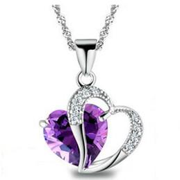 Promotion pendeloques de cristal 12pcs Wome Dame élégante 925 Sterling Silver Purple Heart Shape Améthyste Pendentif en cristal collier Bijoux Accessoires