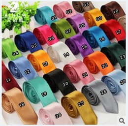 Wholesale New Men s Polyester silk ties Slolid color Satin Plain Neckties Party Wedding ties for men colors Sufficient stock