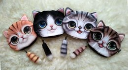 Wholesale 4styles new cat coin purse ladies D printing cats dogs animal big face change fashion meow star people cartoon zipper bag for children