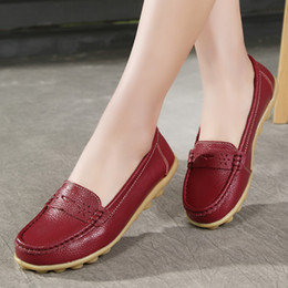 plardin 2017 Handmade genuine Leather Round Toe Women Flats Moccasins Loafers ballet flats women Comfortable soft Casual Shoes