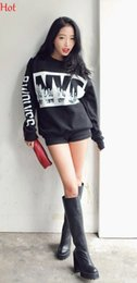 2015 Sweatshirts Spring Autumn Hoodies Women Clothing Casual Letters Printed Long Sleeve Sweatshirts Sports Girls Pullovers Black SV009373