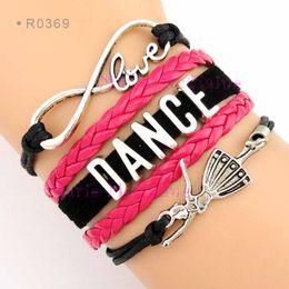 Descuento regalos para los amigos Baile al por mayor-amor al infinito y más allá Pulsera del abrigo del bailarín de la pulsera Pulsera negra del cuero del ante del regalo del amigo de las rosas fuertes - adaptable