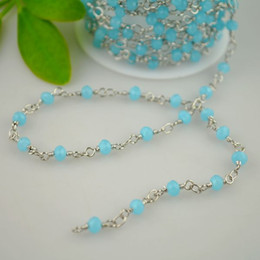 Wholesale! 4MM Rhodium Plated Wire Wrapped Beaded Rosary Chains in Faceted Crystal Beads Jewelry 16.4Feet