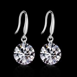 Wholesale 2015 new design sterling swiss CZ diamond drop earrings fashion jewelry beautiful wedding engagement gift