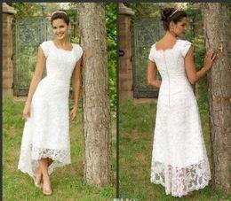Wholesale White Tea Length High Low Lace Wedding Dresses U Neck Cap Sleeves Modest Wedding Gowns Elegant Pleats Custom Made Beach Bridal Gowns
