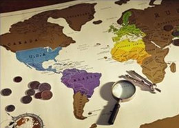 Wholesale Scratch MAP Travel Scratch OFF Map x52 cm Worldwide Wall Map withour retail package DHL free