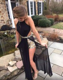 Sexy Black Charming Prom Dresses Beaded Sheath Floor-Length Evening Dresses Prom Dresses Real Made Halter Party Dresses On Sale
