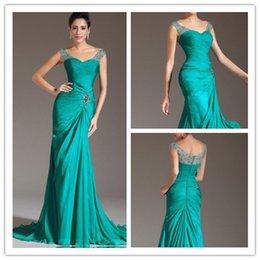 Wholesale corte sirena escote en v vestido de noche de gasa con cuentas Length Turquoise Chiffon Prom Dresses Pleats Discount Prom Gowns
