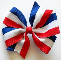 "30PCS 4th of July Bow Red White and Blue Stripes 4"" Large clip Hair Bow hairbow headwear headdress"