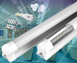 Wholesale Led T8 Integrated Tubes ft W Led T8 Tube Light SMD2835 High Bright Tubes Frosted Transparent Cover AC V Led Fluorescent Bulb