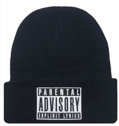 Wholesale Letter Hat with PARENTAL ADVISORY EXPLICIT LYRICS Skullies Beanies Wool Knitted Hats for Women Winter Cap Men Sport Hat MZ0512