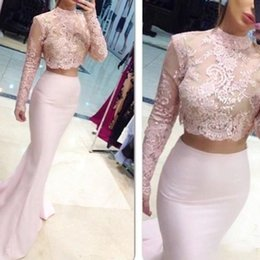 High Collar Long Sleeves Two Pieces Prom Dresses 2017 Lace Applique Top Satin Mermaid 2 Pieces Evening Gowns for Party