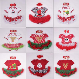 Wholesale Christmas Tutu Toddler - Wholesale-2PCS Newborn Baby's First Christmas Tutu Dress Cotton Romper Toddler Festival Costumes for Baby Girls Outfit Xmas party dress