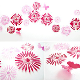 Wholesale Flower Acrylic Removable Wall Sticker Home Decor Room Decal DIY Wall Sticker Decor Red D Wall Stickers