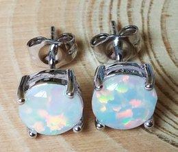Wholesale Earrings Stud Earrings mm Round Blue White Pink Red Fire Opal Stone Stud Earrings for Women