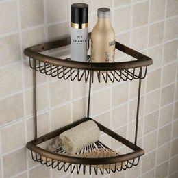 Wholesale Wall Mounted Antique Brass Finish Fashion Double Layer Bathroom Shelves Angle Backet Racks