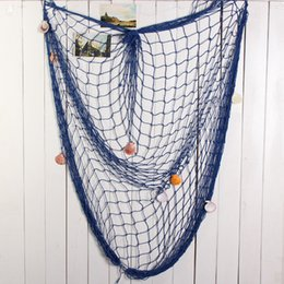 Wholesale Novelty Decorative Fishing Net With Shells Nautical Style Home Wall Party Bar Beach Scene Decor White Blue