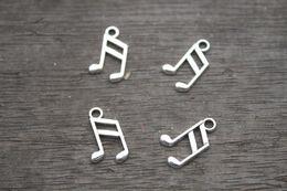 Wholesale 60pcs Music note Charms Antique Tibetan Silver Tone Treble Clef charm pendants musical charm x14mm