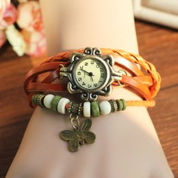 Cuero reloj pulsera corazón en Línea-500pcs del reloj de pulsera de cuero pulsera de encanto retro hoja mezcla ala de mariposa búho corazón colgante de la armadura del abrigo de cuarzo 7 colores el envío libre
