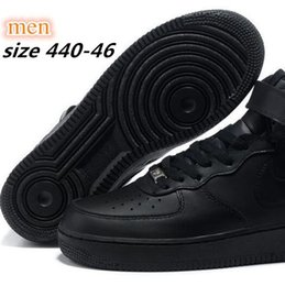 online shopping new air Trainers force shoes Leather Top high Sneakers extremely quality track Shoes men women all black all white Force Outdoor Shoes