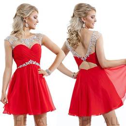 Wholesale Champagne Sequin Sexy Mini Dress - Dazzing Graduation Dress 2015 Short Mini Sexy Red Homecoming Dressed Formal With Sleeves Chiffon Vintage Cocktail Dresses Cheap Party Gowns
