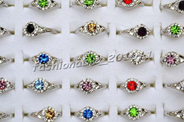 Rings 100pcs   lots Wholesale lots Cute Mixed Colorful Rhinestone Silver Plated Girl's WAVE rings
