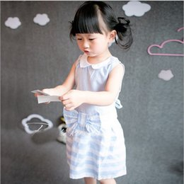 Wholesale 2015 New Arrival American Style Childrens Sleeveless Striped Dress Baby Girls Summer Casual Cotton Dress Kids Doll Collar Princess Dress