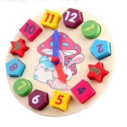 2017 reloj digital de la geometría 2015 Los conejos estéreo digital de dibujos animados colorido reloj digital de la geometría juguete de madera de juguete intelecto juego de combinación de rompecabezas reloj digital de la geometría baratos