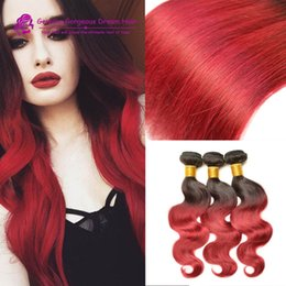 Wholesale Grade A Ombre Peruvian Hair Weave Body Wave Virgin Remy Human Hair Extensions Wefts Bundles Two Tone B RED Burgundy Wine Red
