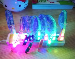 1M 3FT Flat Smile Face Cords LED Visible Micro USB V8 Charger Cable for Samsung Galaxy S4 s5 Note Data Light Up Flash 200pcs lot