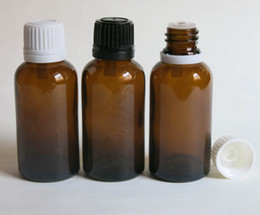wholesale 30ml screw on amber essential oil bottle, amber glass bottle with reducer dropper and tamper evident lid