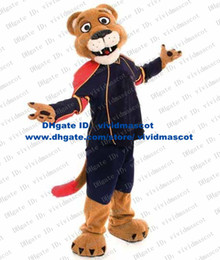 Wholesale Wise Brown Leopard Panther Pard Lion Lioness Wild Beast Wild Animal Mascot Costume With Blue Sports Suit Thin Long Tail No