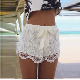 Solid Color Summer Fashion New Women Girl Lace Hem Crochet Chiffon Belt Beach Shorts Dropshipping
