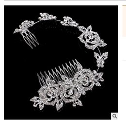 Wholesale Luxury alloy rhinestone rose bride wedding long section of European and American plug comb hair ornaments stock